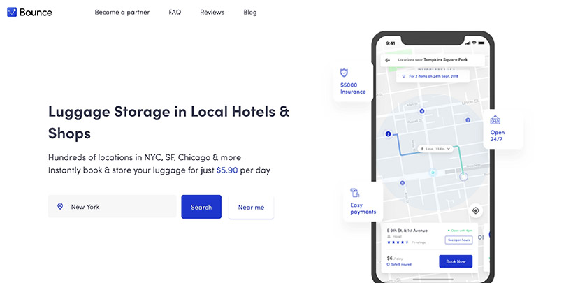 Bounce - Luggage Storage App