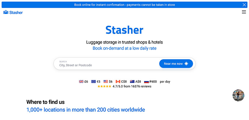 Stasher - Luggage Storage App