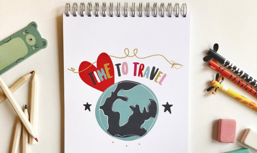 Time To Travel Custom Kids Travel Journal