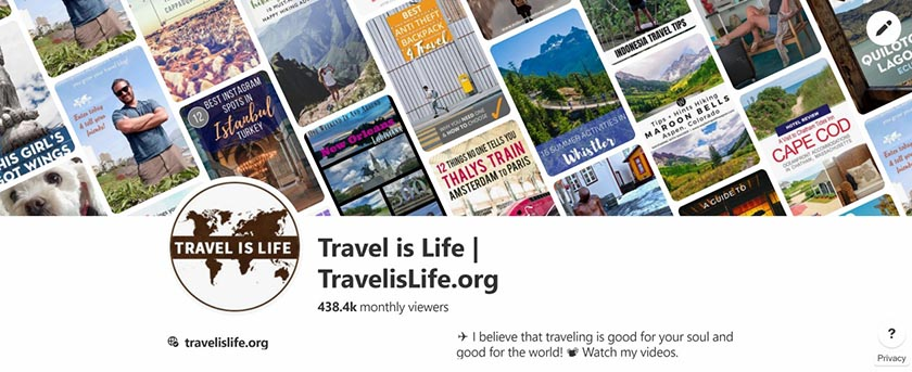 Travel is Life Pinterest Profile