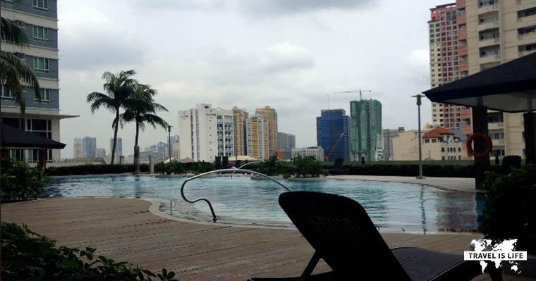 Typical Apartment Complex Pool in Makati Philippines